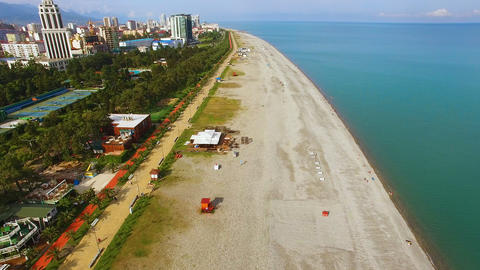 Beach line in Batumi Georgia, popular tourist destination, summertime holidays Footage