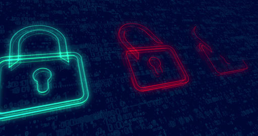 Cyber security background with padlocks Animation