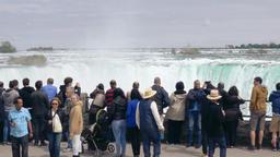 Tourists and Horseshoe Falls, Niagara Falls Live Action