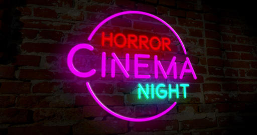 Horror cinema night neon Animation