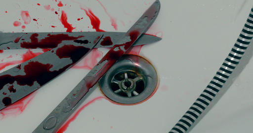 Murder Scene - 3 Knives And Blood In The Bathtub Live Action