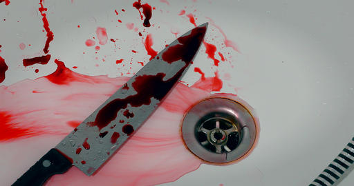 Murder Scene - Knife And Blood In The Bathtub Footage