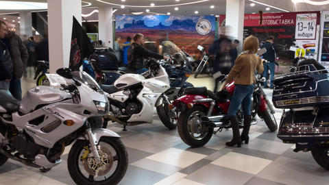 Lipetsk, Russian Federation - Jan 13, 2018: Exhibition of motorcycles, Timelapse Footage