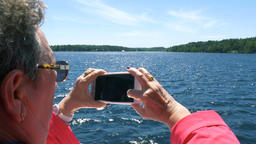 Sightseer Filming Georgian Bay Waters From a Boat Footage