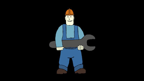 Worker And Wrench CG動画素材