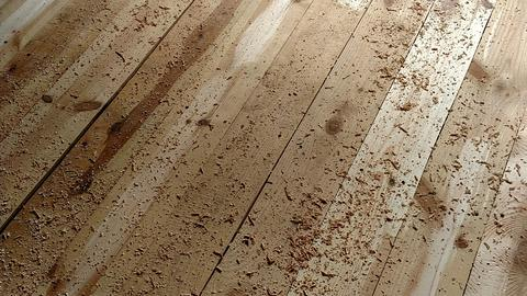 Wood shavings on boards for carpentr craft Photo