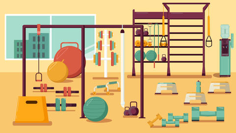 Gym Colorful Flat Illustration Healthy Workout Interior Photo