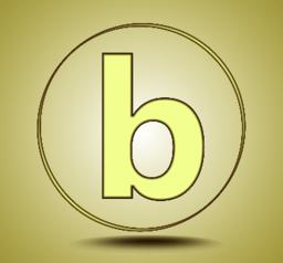 Letter B lowercase, round golden icon on light golden gradient background Vector