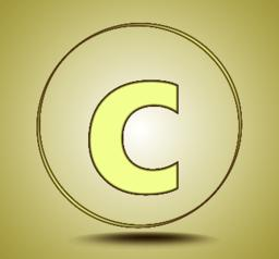 Letter C lowercase, round golden icon on light golden gradient background Vector