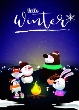 Hello winter with animal cartoon and night snow 001 Vector