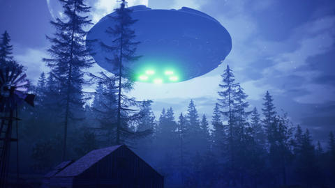 UFO flies over the forest and scans the house Animation