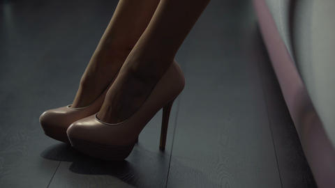 Close-up of gorgeous female feet in stunning high heels, tender leg movements Live Action