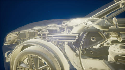 Holographic animation of 3D wireframe car model with engine Footage