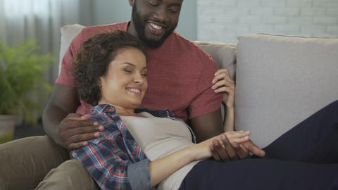 Spouse telling his wife funny stories, enjoying her sonorous laughter, love Footage