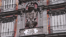 Coat of Arms in plaza mayor in madrid spain Stock Video Footage