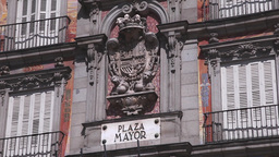Coat of Arms in plaza mayor in madrid spain Footage