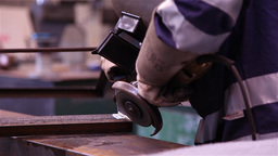 worker doing metalworking using a grinding wheel Footage
