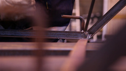 worker welding steel with a gas welding machine Footage