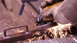 worker doing metalworking using a grinding wheel Footage