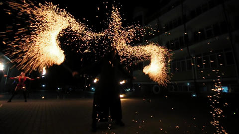 Beautiful Fire Show at Night Footage