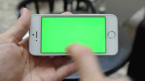 Smart Phone Held by Hand Green screen Chroma Key Tracking Motion Horizontal. Per Footage