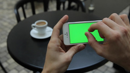 Green Screen In White Phone Infographics Zoom Page stock footage
