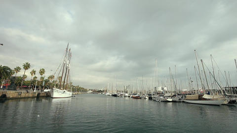 Passing Luxury Super Yachts in The Harbour Footage