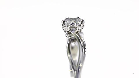 Excellence White Gold Diamond Ring Turning on Themselves Against a White Backgro Live Action