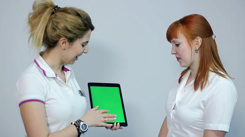 Doctor Discussing Eesults with Patient on Tablet, Green Screen Footage
