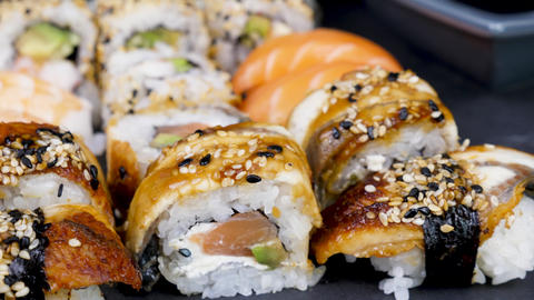 Close up on traditional sushi rolls Footage