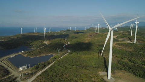 Solar Farm with Windmills. Philippines, Luzon Photo