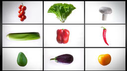 Montage of spinning wet vegetables, on a white background, collage Footage