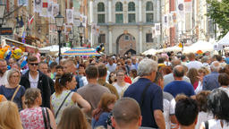 Gdansk, Poland. Old Town. Main City. Crowd of strolling tourists Live Action