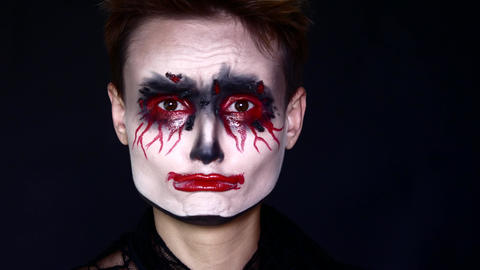 Sad joker. Woman in Halloween Makeup Footage
