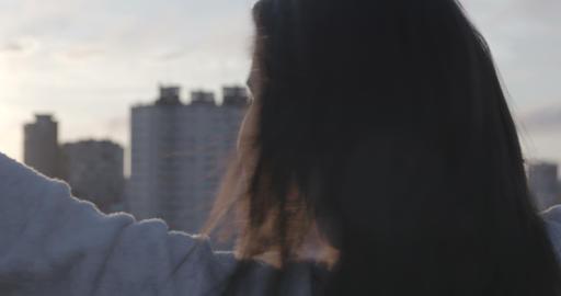 Woman Enjoying Sunrise On Rooftop – 4K Stock Video Footage