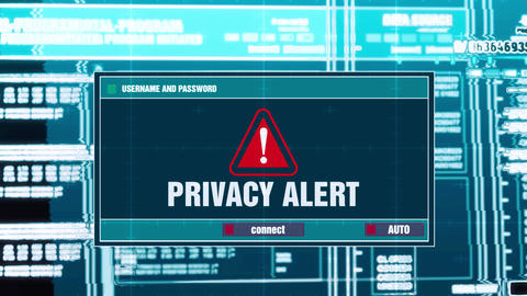 44. Privacy Alert Warning Notification on Digital Security Alert on Screen Footage