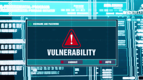 63. Vulnerability Warning Notification on Digital Security Alert on Screen Live Action