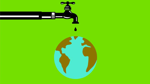 Faucet Dripping Water on Globe Retro 2D Animation Animation