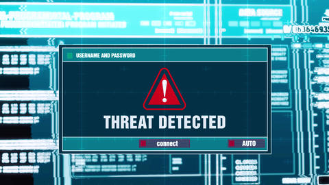 71. Threat Detected Warning Notification on Digital Security Alert on Screen Live Action