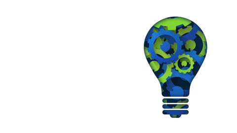 creative technology concept blue green gears light bulb Animation