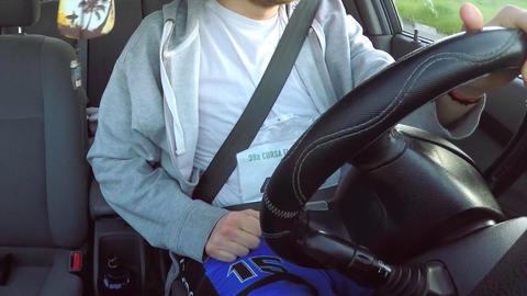 Man Drives Car Dahsboard View Live Action