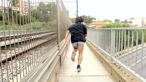 Man Runs On A Bridge Escaping GIF