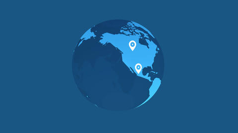 earth animation white pins location on blue background Animation