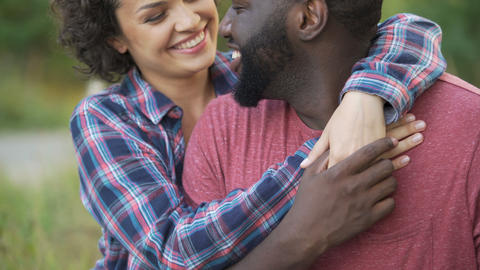 Two people in love show affection for each other, delicately touching noses Live Action