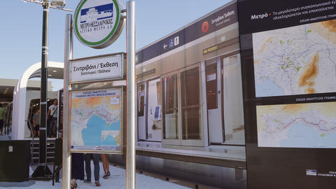 Thessaloniki, Greece metro station exhibit with sign Footage