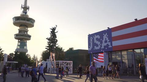 Thessaloniki, Greece visitors inside International annual fair grounds GIF