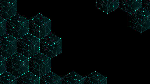 Cube box isometric pattern, Blockchain concept design illustration blue green Animation