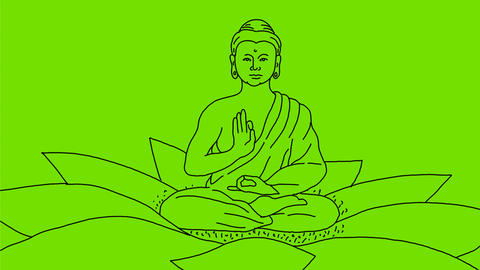 Buddha Sitting on Lotus Flower Drawing 2D Animation 애니메이션
