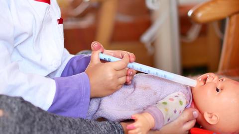 An active little preschool child, a pretty little girl... Stock Video Footage