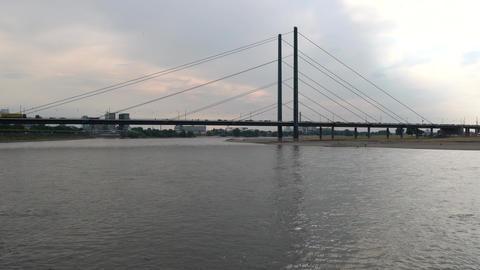 Bridge over river Rhine, Duesseldorf, Germany Footage
